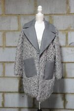 ASOS WOMEN'S Coat with Faux Fur Body and Contrast Collar UK 14 COLOUR IN  Grey