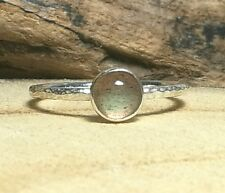 Hammered Sterling Silver Labradorite Ring Handmade Rock and Feather Jewellery