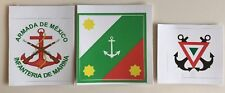 Mexican Navy jack, naval infantry & navy air insignia vinyl stickers (3) flags