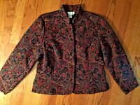 COLDWATER CREEK Tapestry Paisley Multi Color JACKET Coat Blazer WOMENS SIZE L