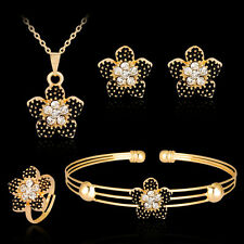 Women's Rhinestone Flower Necklace Bracelet Ring Earrings Jewelry Set Sturdy