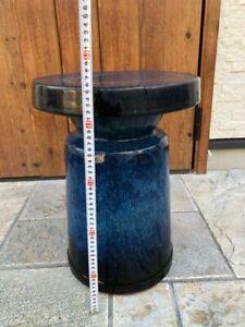 Japanese pottery chair For garden Vintage Japanese style Indigo blue