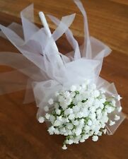 Flower Girl Floral Wand - White Baby's Breath Flower Wand for Flowergirl