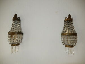 ~OLD French Crystal Prisms Bronze Sconces Empire Beads Vintage~