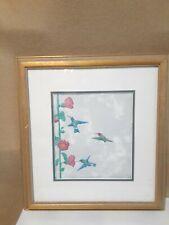 John Saunders Paper Sculpture Titled Hummingbirds & Hollylocks Signed & Dated
