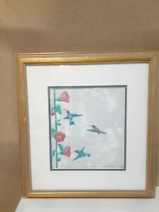 John Saunders Paper Sculpture Titled Hummingbirds & Hollylocks Signed & Dated