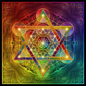 "3x Flower of Life sticker 4.13"" Metatron's Cube Rainbow Sacred Geometry Hexagram"