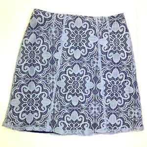 New york and company floral lace overlay pencil skirt purple size 6 small career