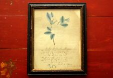 1838 Monroe Academy New York Folk Art Watercolor Poem