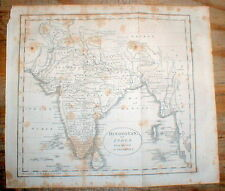 Rare original detailed 1809 map of INDIA & the INDIAN SUBCONTINENT of ASIA