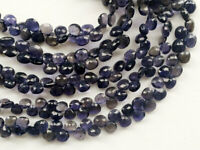 15beads..b576 8-10mm Natural Iolite Faceted Heart Shape Briolette Beads 6 Strand Natural Gemstone