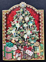 Punch Studio Christmas Tree Cards SET Of 4 GORGEOUS 3D Embellished Jewel Glitter