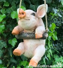Hanging Piglet on rope novelty tree garden ornament decoration Pig lover gift