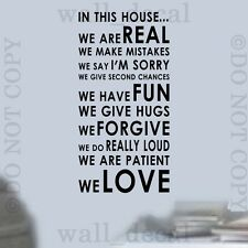 In This House Rules We Love Wall Vinyl Decal Decor Words Sticker Art Lettering