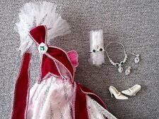 Barbie Clothes Collectors Label  Gown Crown Necklace Earrings Deboxed Lot F7