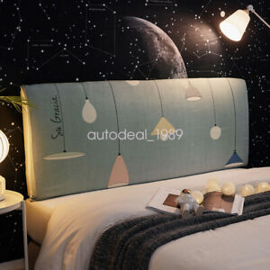Stretch Bed Headboard Cover Soft Cartoon Dustproof Slipcover for Bedroom Decor