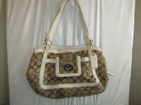 Coach 14934 Brown Khaki Jacquard White Leather Trim PURSE 9 x 11 x 4 USED