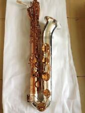 2018 Professional Coffee Baritone saxophone Eb Sax Silver nickel Bell With Case