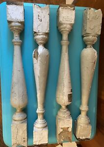 "c1900 Victorian chunky porch railing baluster spindles set of 4 - 17.5""x 2"" sq"
