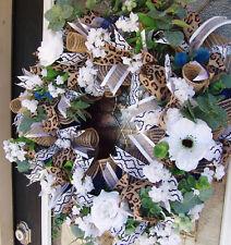 XL Deluxe Romantic Dark Blue Floral Front Door Deco Mesh Wreath, Summer Everyday