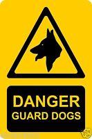 Danger Guard Dogs Rigid Plastic Board Sign 30cmx20cm