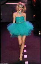 $398 Vintage Sz 4 Betsey Johnson Tulle Tutu Prom Dress Teal no belt