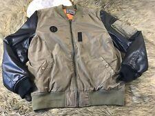 Brooklyn Clothes Co Men's Sz L Khaki Green & Black Moto Style Jacket Coat