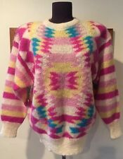 True Vintage 80s Colorful Tribal Geometric Mohair Wool Blend Sweater Pink M