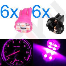 6Pcs Instrument Dash Cluster Gauge Sockets+ Pink LED Light Bulbs T10 194 168