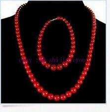 17'' + Bracelet 7.5'' 1set Rare!6-14mm Red Sea Coral Necklace Bracelet