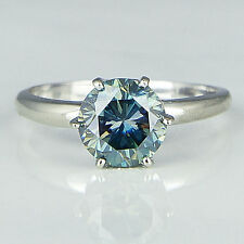 Engagement Ring 925 Sterling Silver 1.80Ct Blue Color Round Moissanite Solitaire
