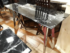 ALFRANK FREMONT BLACK/WHITE + CHROME MARBLE CONSOLE TABLE....HIGH ST PRICE £450+