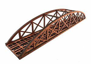 WWS Single Track Hi-Detail Red MDF Bowstring Bridge 450mm – OO/HO Model Railway