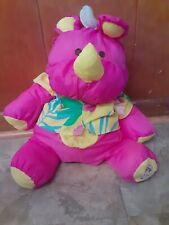 "Vintage 1987 Fisher Price 16"" Puffalump Hot Pink Rhinoceros Rhino Hawaiian Shirt"