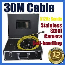 30M Cable Sewer Drain Pipe Wall Self-levelling Camera w 512HZ Locator Sonde