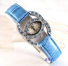 Turquoise Designer Kiss Bling Ladies Statement Dress Watch w/ Swarovski Crystals