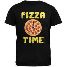Pepperoni Pizza Time Clock Black Adult T-Shirt