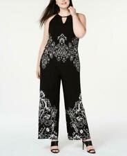 Women Plus Size INC Black White Sleeveless Wide Leg Jumpsuit 2X 10497