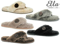 Ladies Ella Slippers Memory Foam Faux Fur Home Spa Toe Post Comfort Flip Flops
