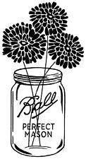 flowers mason jar cups walls windows wood  vinyl decal sticker p1