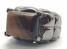 Sterling Silver Gunmetal Cabochon Tiger's Eye Puffy Square Pattern Cocktail Ring