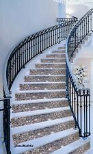 "-15cm (6"") Wall Paper Fabric  Gun Metal Grey Glitter Stairs Risers Self Adhesive"