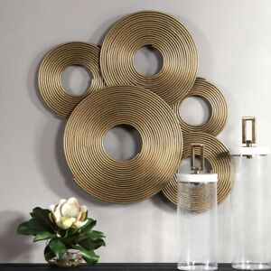 """AHMET GOLD METAL WALL DECOR INDUSTRIAL INSPIRED PANEL XXL 35"""" UTTERMOST 04201"""
