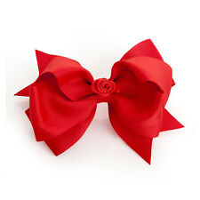 """5"""" Red Flower Large Bow Hair Alligator Clips Girls Ribbon Bow Kids Accessories"""