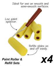 4 x 5 Piece Mini Paint Roller & Refill Sets - 10cm Wide Sponge Rollers