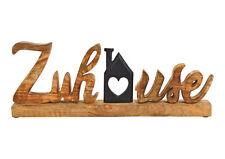 Schriftzug ZUHAUSE 40x16cm Holz METALL Haus Deko schwarz braun Mangoholz