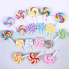 12pcs Polymer Clay Decoration  Lollipop Candy Hair Barrettes DIY for Crafting