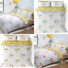 Scandi Duvet Covers Emeli Modern Floral White Reversible Bedding Quilt Sets