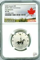2020 $5 CANADA SILVER NGC SP70 RCMP 100TH ANNIVERSARY FIRST RELEASES VERY RARE