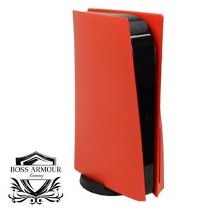 BossArmour Fire Red PS5 Faceplate, Disc Edition Snap-on Console Cover Shell